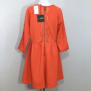 ASOS Petite Dresses - NWT ASOS Petite Orange Skater Dress w Lace Insert